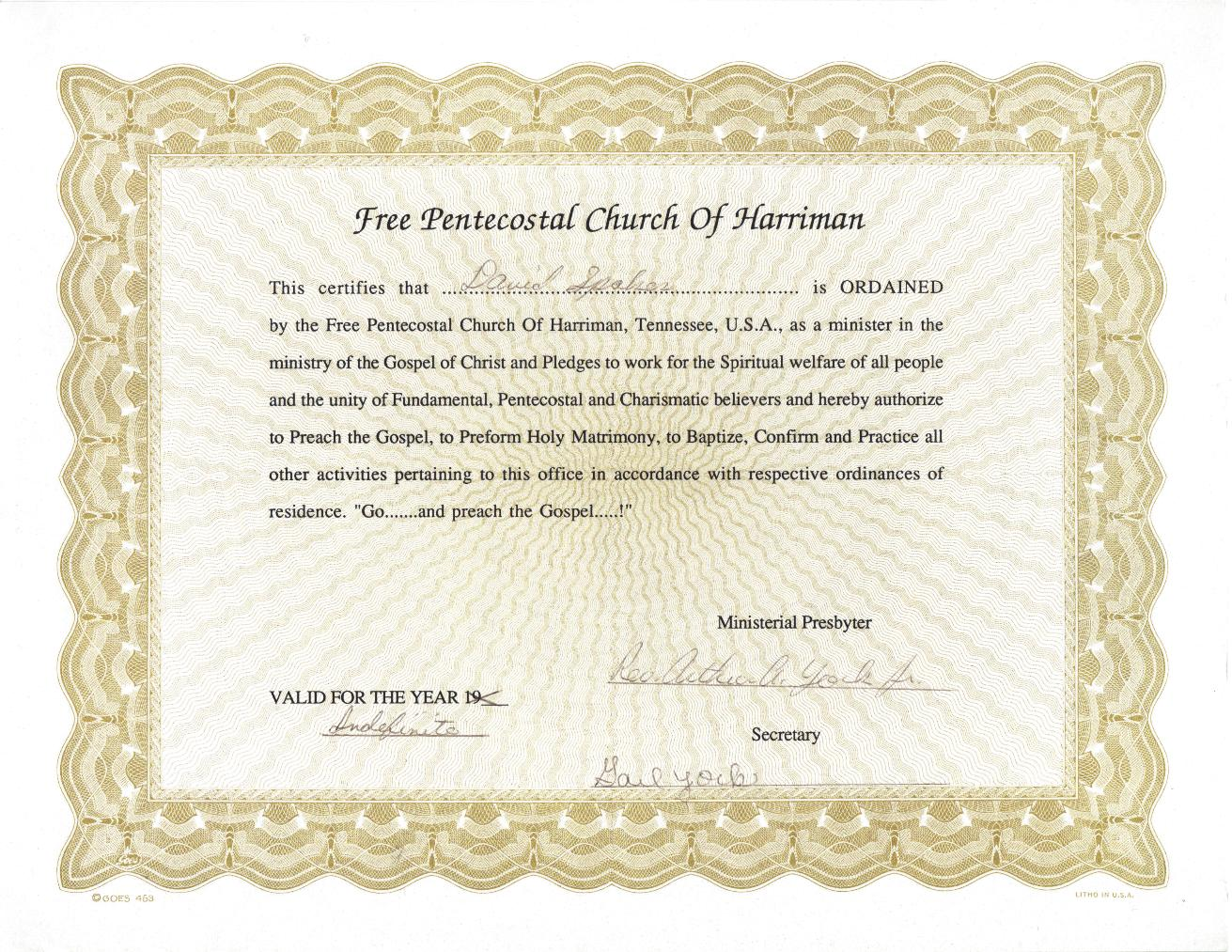 Spirit and truth ministries scrapbook for Free ordination certificate